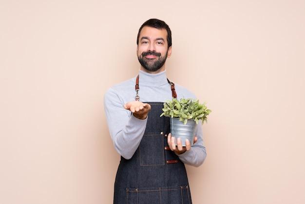 Obsługuje trzymać rośliny nad odosobnionym mienia copyspace imaginacyjnym na palmie, aby wstawić reklamę