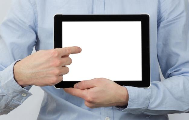 Obsługuje wskazywać przy cyfrową pastylką z pustym ekranem