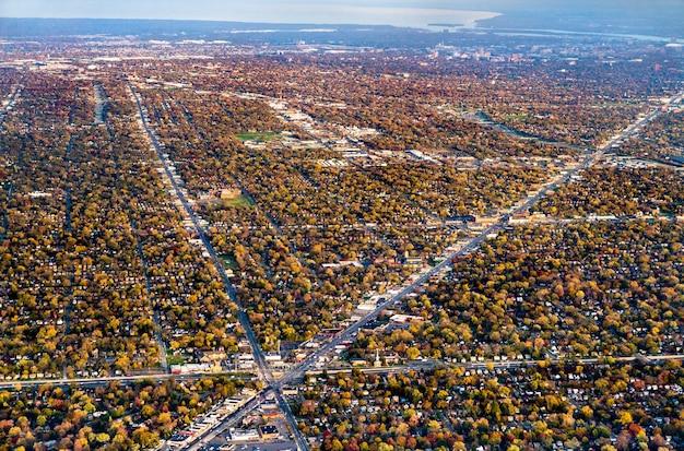 Obszar podmiejski w pobliżu detroit michigan, stany zjednoczone