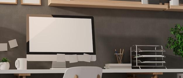Obszar roboczy renderowania 3d z komputerem stacjonarnym materiały biurowe i dekoracje w nowoczesnym pokoju biurowym ilustracja 3d