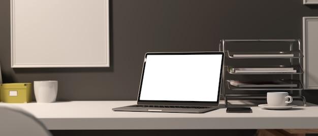 Obszar roboczy renderowania 3d z laptopem materiały biurowe dekoracje i skopiuj miejsce na biurku w biurze ścieżkę przycinającą pomieszczenie biurowe ilustracje 3d