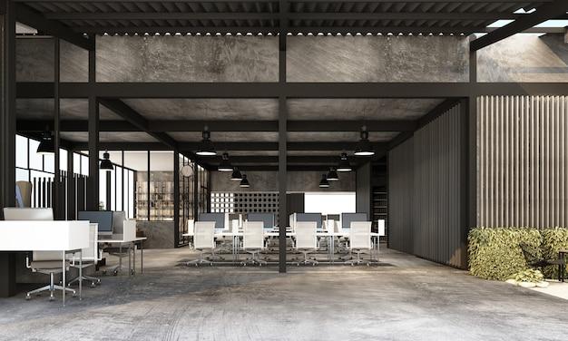 Obszar roboczy w nowoczesnym biurze z betonową podłogą na poddaszu przemysłowym