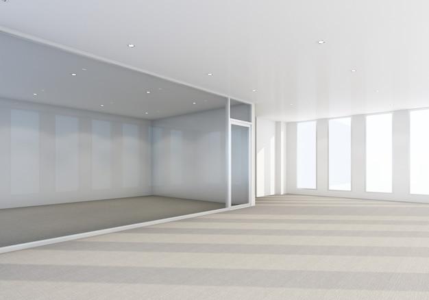Obszar roboczy w nowoczesnym biurze z podłogą dywanową i wnętrzem sali konferencyjnej renderowania 3d