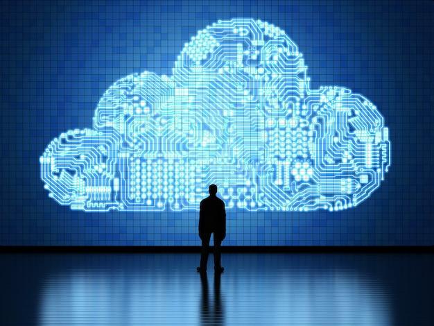Obwód renderujący 3d chmura na tablecie dla technologii przetwarzania w chmurze