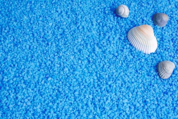 Ocean niebieskie tło z solą do kąpieli i muszelkami, ślimak.