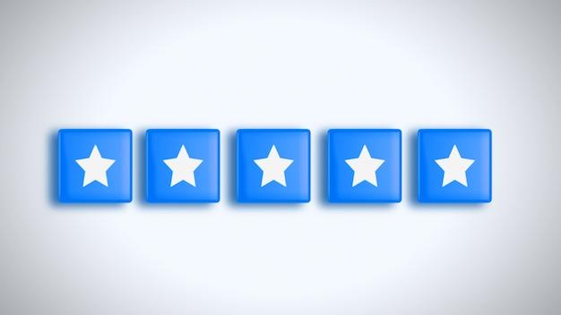 Oceń 5 gwiazdek w stylu mediów społecznościowych 4k. ilustracja.