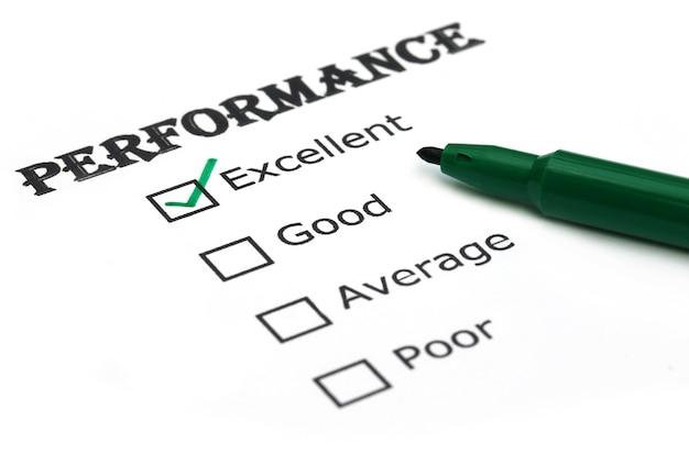 Ocena wydajności zielonym długopisem
