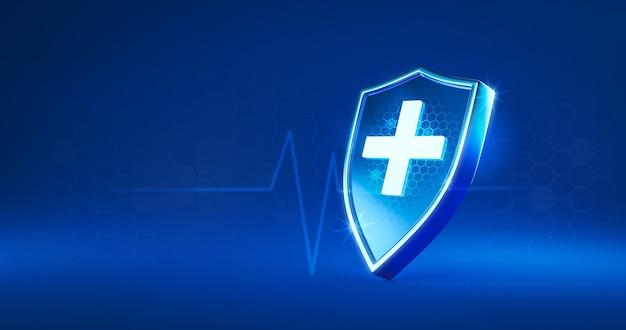 Ochrona bezpieczna tarcza lub ochrona przed wirusami na bezpiecznym tle z koncepcją medyczną ubezpieczenia. renderowanie 3d.