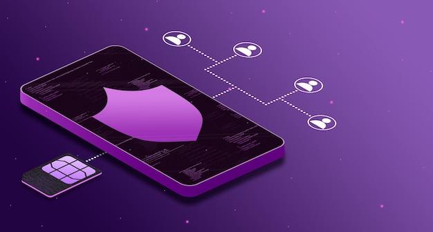 Ochrona danych w telefonie podczas łączenia ludzi przez esim 5g, ikona tarczy 3d