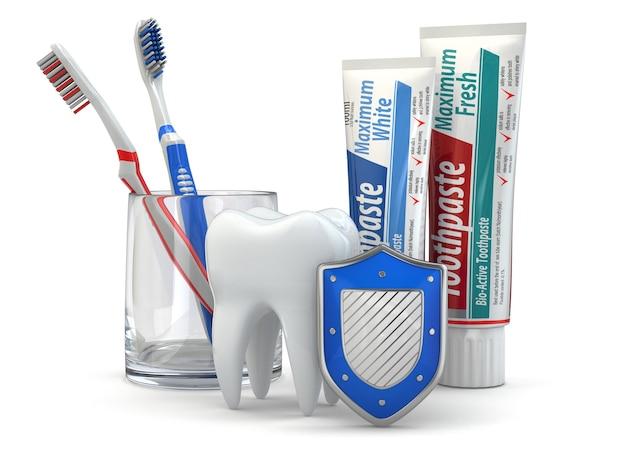 Ochrona zębów, ząb, tarcza, pasta do zębów i szczoteczki do zębów. 3d
