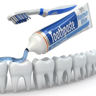 Ochrona zębów, zęby, pasta do zębów i szczoteczki do zębów. 3d