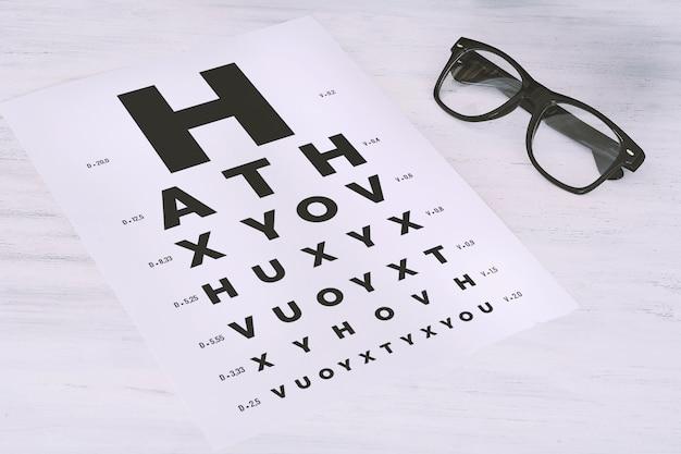 Oczu okulary na wykres testu wzroku