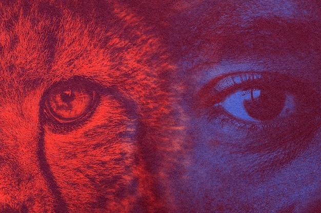 Oczy podwójna ekspozycja z remiksowanymi mediami z efektem risografu