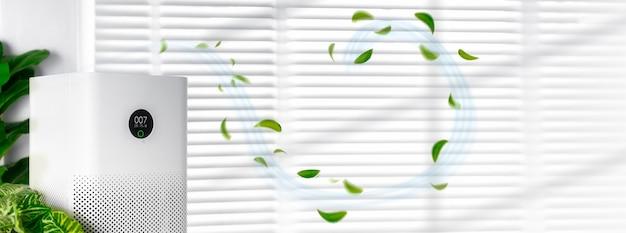 Oczyszczacz powietrza w salonie, oczyszczacz powietrza usuwający drobny kurz w domu. chroń koncepcję pyłu pm 2.5 i zanieczyszczenia powietrza,