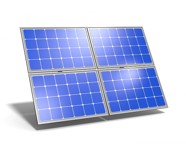 Odbicie niebieskiego nieba panelu słonecznego