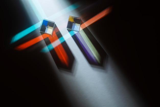 Odbicie światła pryzmatów kolorowy efekt