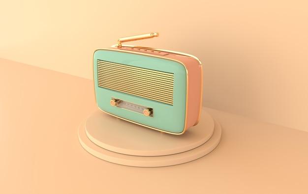 Odbiornik radiowy w stylu vintage na podium retro radio realistyczne renderowanie 3d