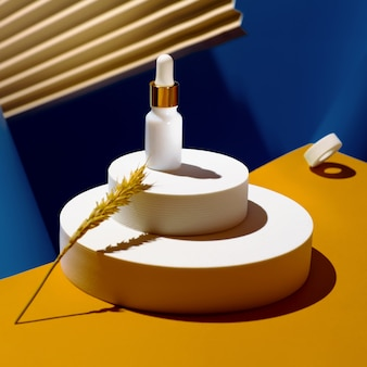 Odbudowujące serum olejowe ze złotą, przeciwstarzeniową pielęgnacją twarzy o geometrycznych kształtach