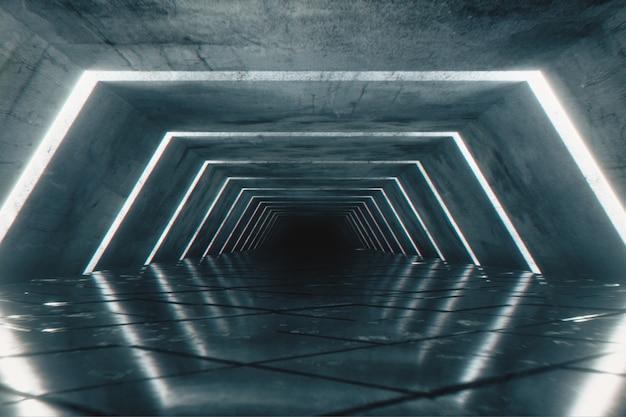 Odern futurystyczny pusty korytarz