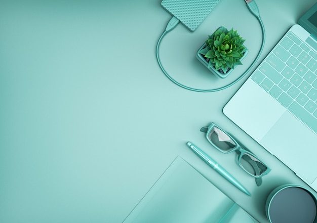 Odgórnego widoku biurowy biurko z komputerem, zielony tło
