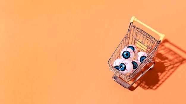Odgórnego widoku halloween oka piłki z kopii przestrzenią