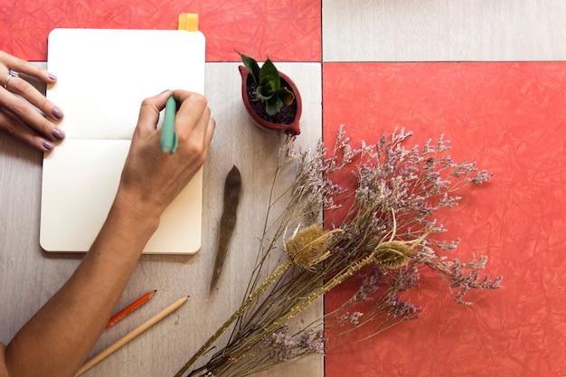 Odgórnego widoku kobiety writing w notatniku z kopii przestrzenią