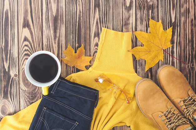 Odgórnego widoku strzał jesieni tło. upadek ubrania damskie płaskie świeckich obraz. szafa damska