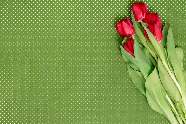Odgórny widok czerwoni tulipanowi kwiaty nad zielonym polki kropki tłem