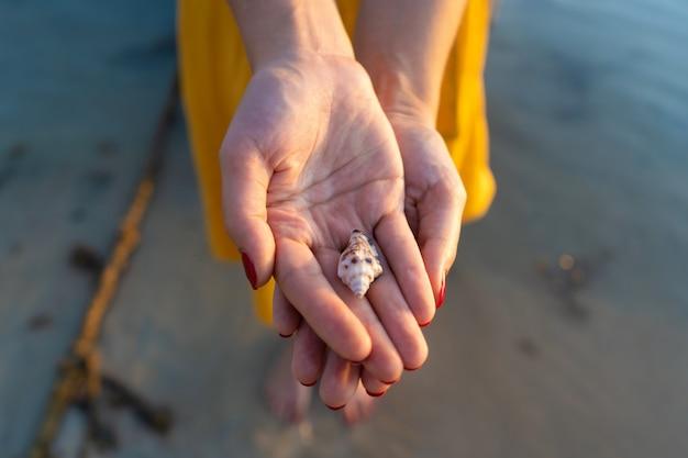 Odgórny widok dziewczyna trzyma seashell w jej rękach w żółtej sukni podczas gdy stojący w wodzie. ręce z bliska.