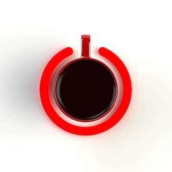 Odgórny widok filiżanka kawy w postaci władzy odizolowywającej na białym tle