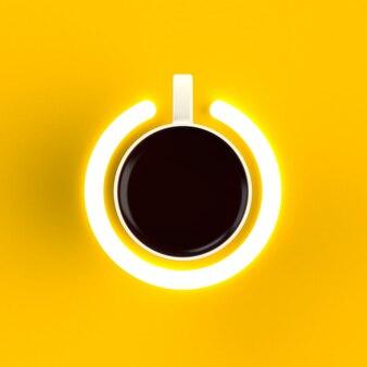 Odgórny widok filiżanka kawy w postaci władzy odizolowywającej na żółtym tle