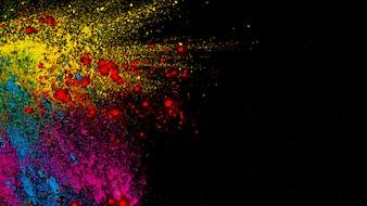 Odgórny widok kolorowi holi barwi przed czarnym tłem