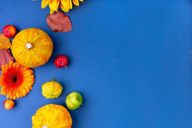Odgórny widok kwiaty i banie na błękitnym tle z kopii przestrzenią koloru żółtego i pomarańcze. puste kartkę z życzeniami dla kreatywnego projektowania pracy. leżał płasko