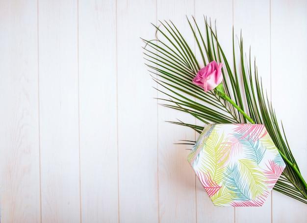 Odgórny widok prezenta pudełko z różową kolor różą i palmowym liściem na białym tle z kopii przestrzenią