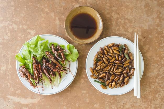 Odgórny widok smażący insekty w naczyniu z kumberlandem na drewnianym stole