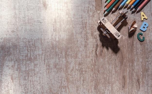 Odgórny widok szkolny tła pojęcie i edukaci tła pojęcie