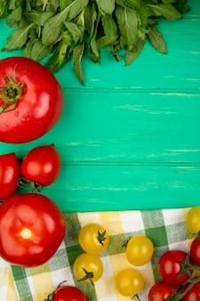 Odgórny widok warzywa jako zielona mennica opuszcza pomidorowego basilu na zieleni powierzchni