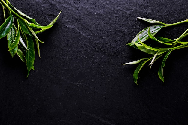 Odgórny widok zielonej herbaty matcha w pucharze na drewnianej powierzchni