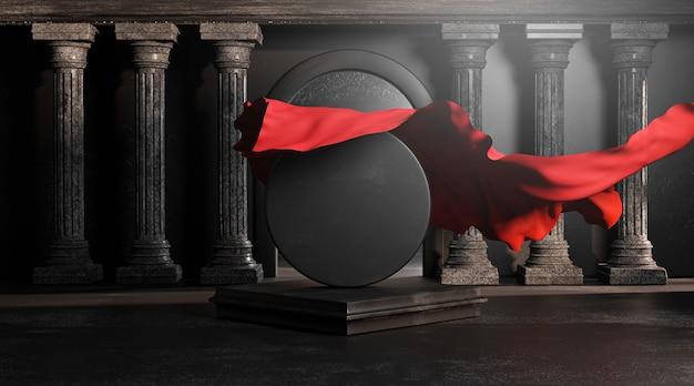 Odkryj czerwony materiałowy pokrowiec z okrągłych czarnych kamiennych klasycznych filarów colums. pusta przestrzeń makieta szablon renderowania 3d