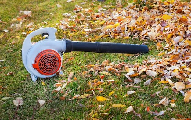 Odkurzacz do czyszczenia liści na trawniku w jesiennym parku.