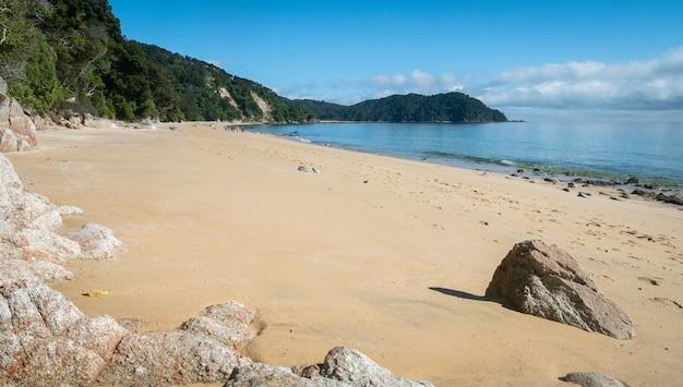 Odległa egzotyczna plaża ze złotymi piaskami zastrzelona w parku narodowym abel tasman w nowej zelandii