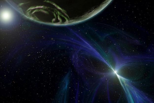 Odległa planeta w kosmicznym świetle. elementy tego obrazu dostarczyła nasa. w dowolnym celu.