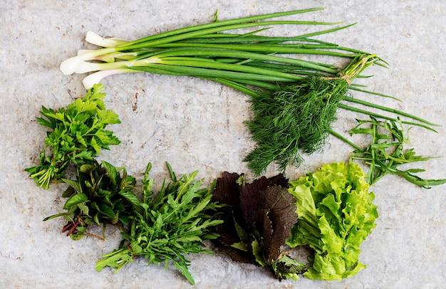 Odmiana świeżych organicznych ziół (sałata, rukola, koperek, mięta, czerwona sałata i cebula). widok z góry