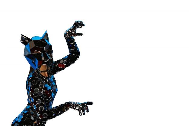 Odosobniona dziewczyna w fantastycznym lustrzanym kostiumu z maską