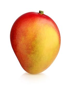 Odosobnione mango. całe owoce na białym tle na białym tle ze ścieżką przycinającą. jedno czerwone i żółte mango.