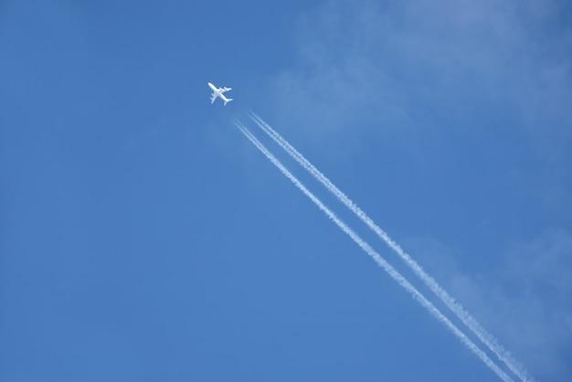 Odrzutowiec pasażerski leci wysoko na błękitnym niebie