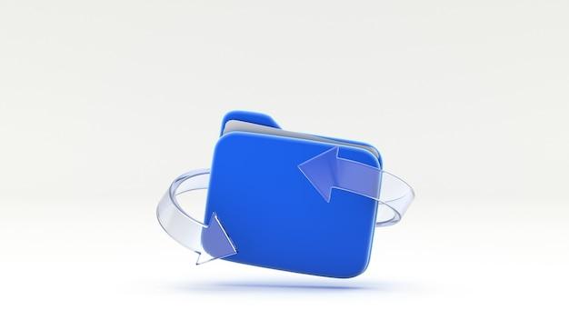 Odśwież symbol folderu plików ze szklaną strzałką