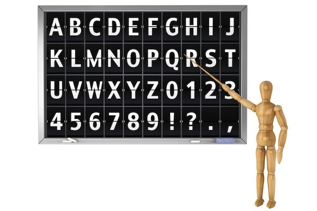 Odwróć alfabet na szkolnej tablicy z drewnianym manekinem na białym tle