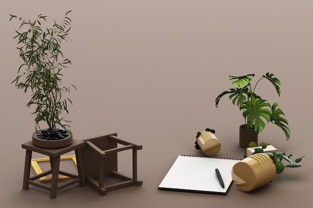 Odwrócony papier a4 z czarną podkładką, rośliną doniczkową, kaktusem, ramką i długopisem na brązowym tle. renderowanie 3d