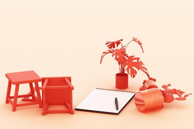 Odwrócony papier a4 z czarną podkładką, rośliną doniczkową, kaktusem, ramką i długopisem na pastelowym pomarańczowym tle. renderowanie 3d
